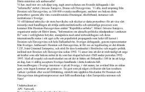 Protestbrev mot svenskt deltagande i mötet 14. oktobar 2021 i Istocno Sarajevo